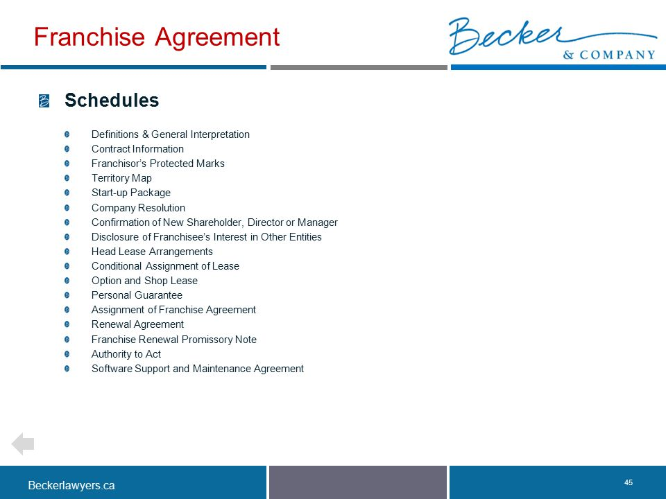 Beckerlawyers.ca. 45 Schedules Definitions & General Interpretation Contract Information Franchisor's Protected Marks Territory Map Start-up Package C