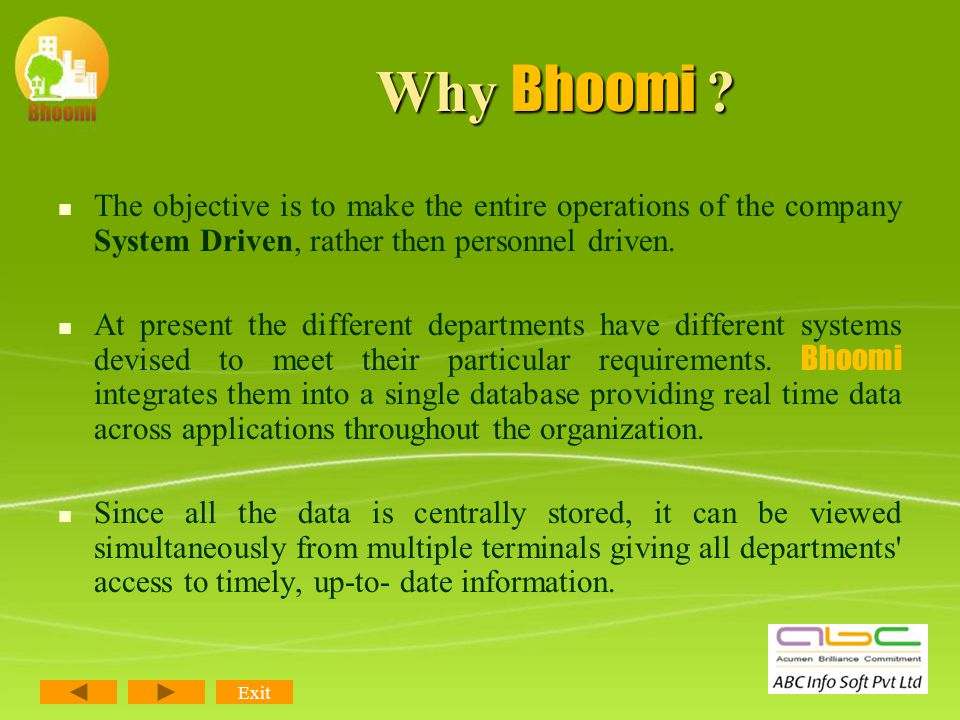 What Bhoomi is.