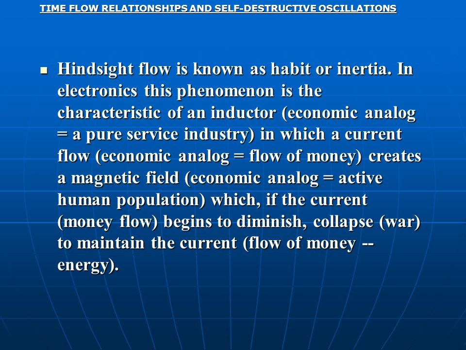 TIME FLOW RELATIONSHIPS AND SELF-DESTRUCTIVE OSCILLATIONS Hindsight flow is known as habit or inertia.