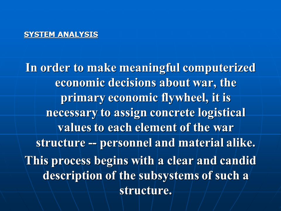 In order to make meaningful computerized economic decisions about war, the primary economic flywheel, it is necessary to assign concrete logistical values to each element of the war structure -- personnel and material alike.