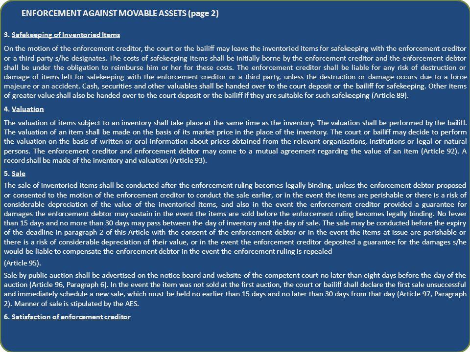 ENFORCEMENT AGAINST MOVABLE ASSETS (page 2) 3.