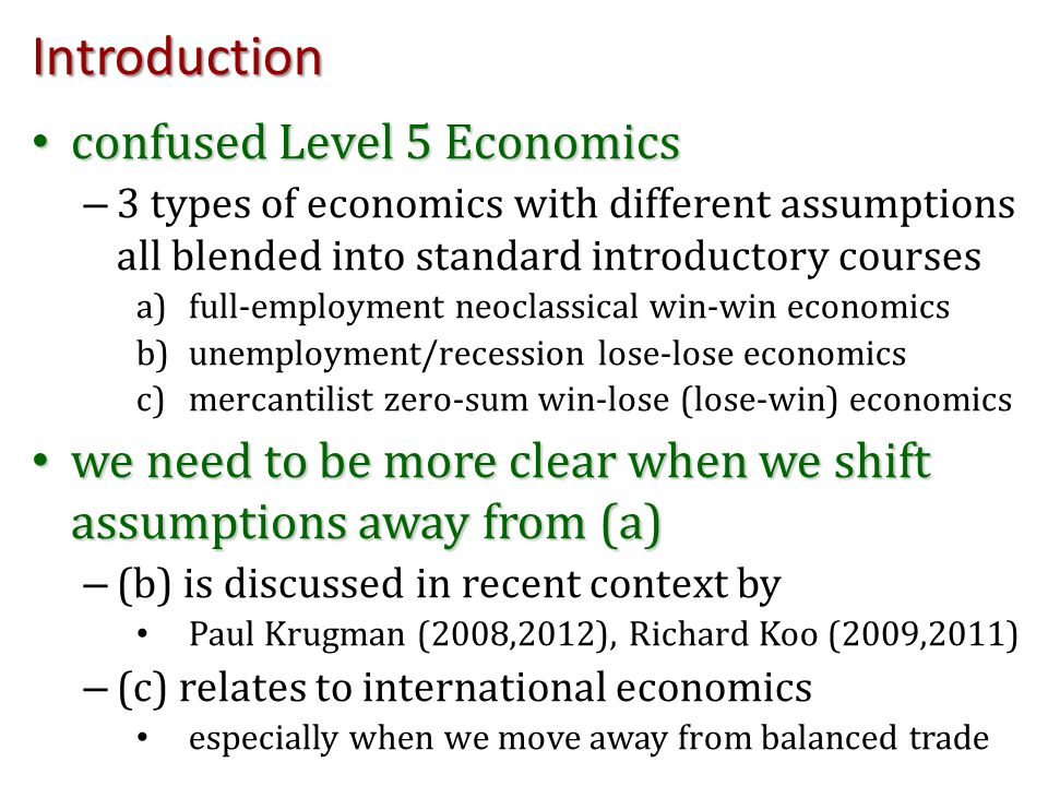 Introduction confused Level 5 Economics confused Level 5 Economics – 3 types of economics with different assumptions all blended into standard introdu