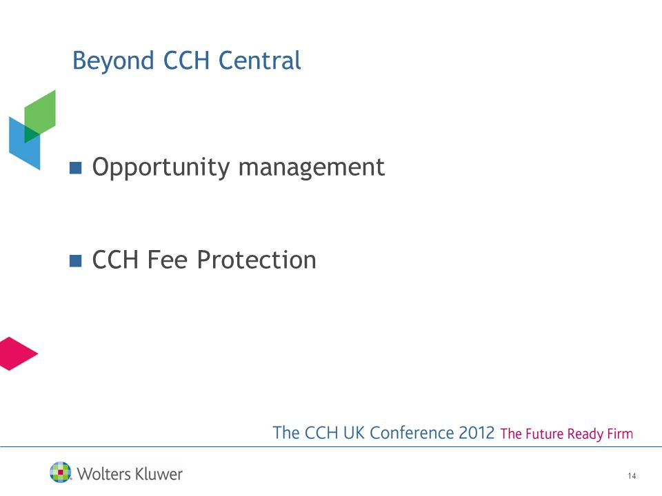 Beyond CCH Central Opportunity management CCH Fee Protection 14