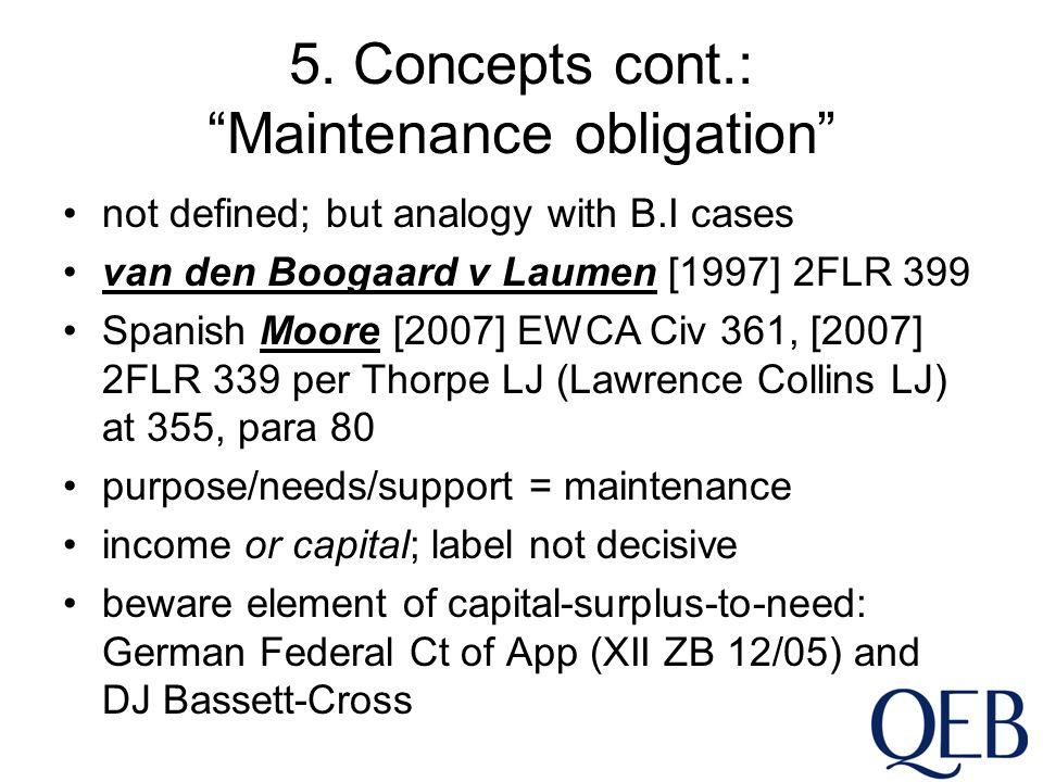 "5. Concepts cont.: ""Maintenance obligation"" not defined; but analogy with B.I cases van den Boogaard v Laumen [1997] 2FLR 399 Spanish Moore [2007] EWC"