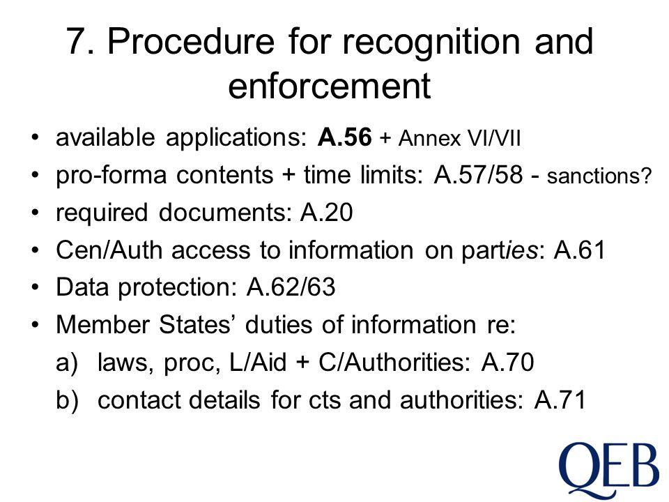 7. Procedure for recognition and enforcement available applications: A.56 + Annex VI/VII pro-forma contents + time limits: A.57/58 - sanctions? requir