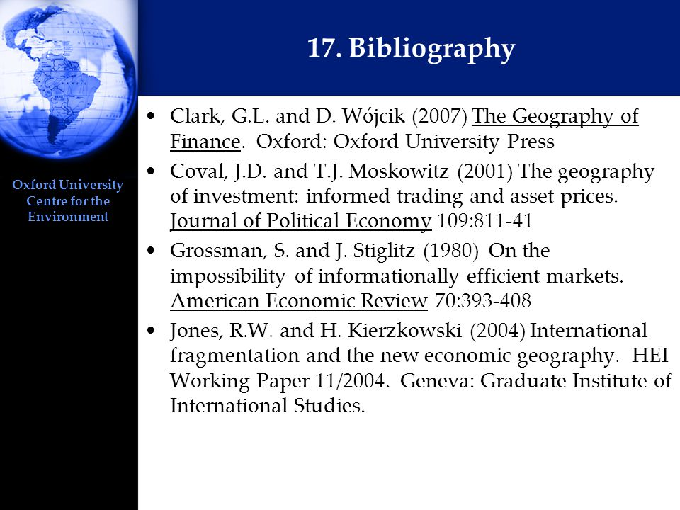 Oxford University Centre for the Environment 17. Bibliography Clark, G.L.