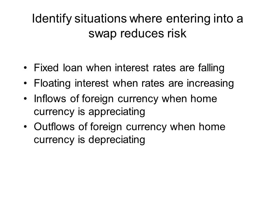Identify situations where entering into a swap reduces risk Fixed loan when interest rates are falling Floating interest when rates are increasing Inflows of foreign currency when home currency is appreciating Outflows of foreign currency when home currency is depreciating