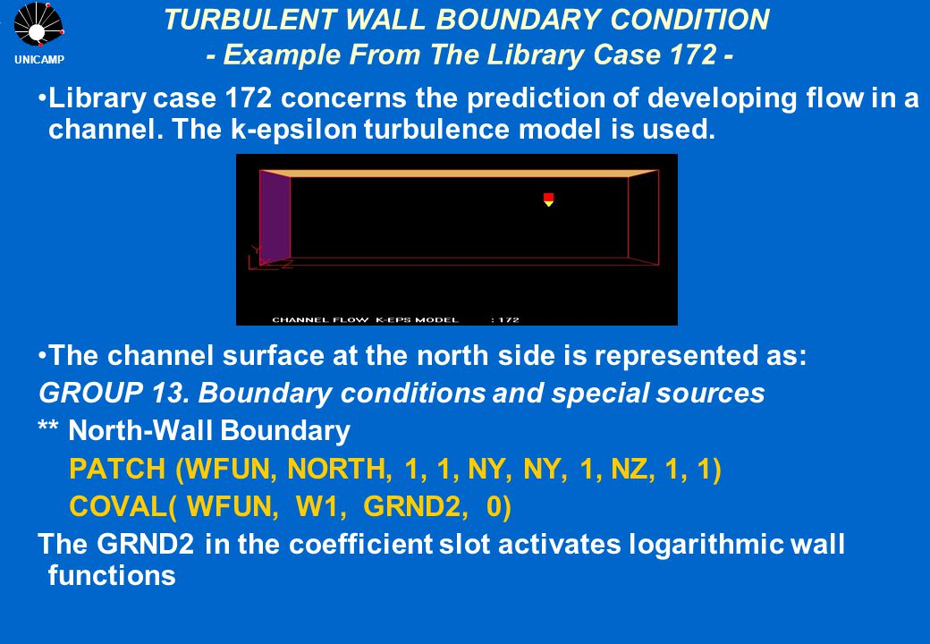 UNICAMP TURBULENT WALL BOUNDARY CONDITION - Example From The Library Case 172 - Library case 172 concerns the prediction of developing flow in a chann