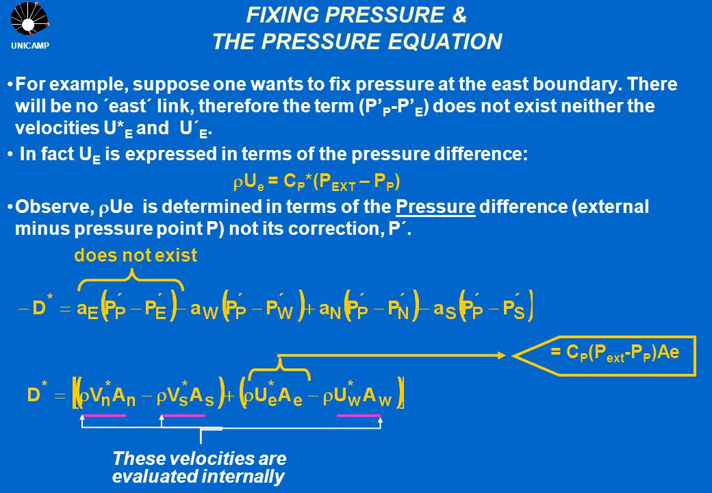 UNICAMP FIXING PRESSURE & THE PRESSURE EQUATION For example, suppose one wants to fix pressure at the east boundary. There will be no ´east´ link, the