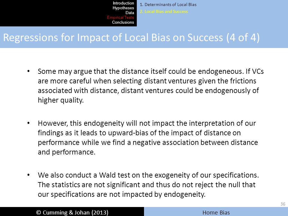 © Cumming & Johan (2013) Home Bias Regressions for Impact of Local Bias on Success (4 of 4) Introduction Hypotheses Data Empirical Tests Conclusions 1.