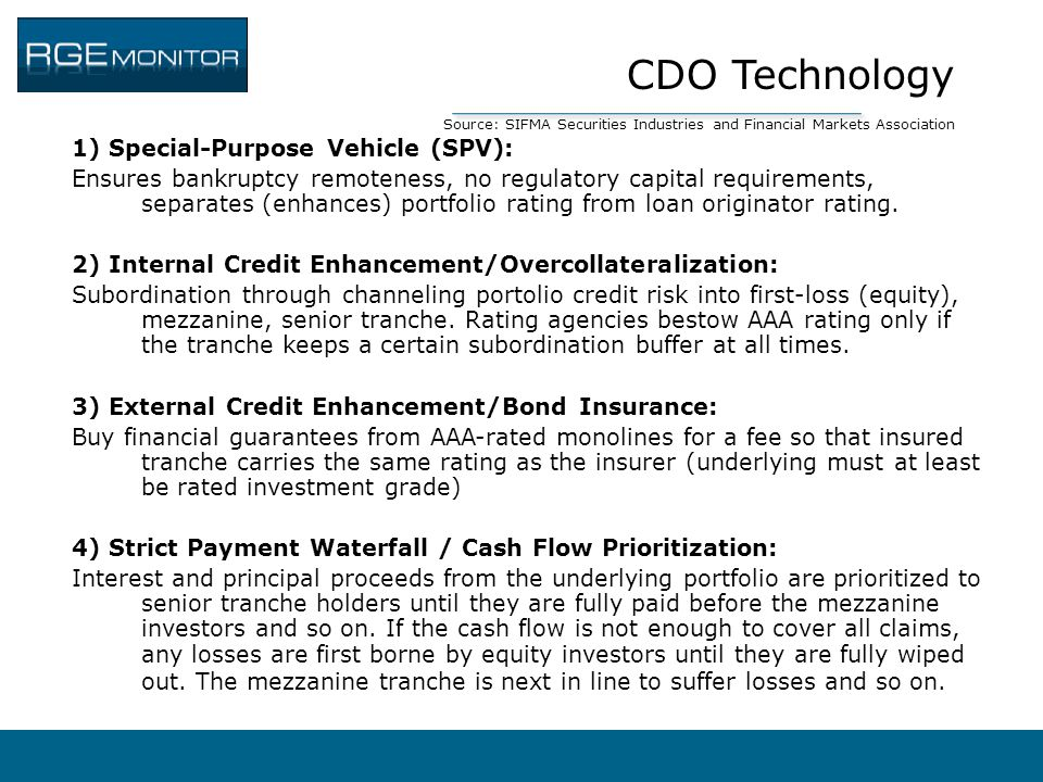 CDO Technology Source: SIFMA Securities Industries and Financial Markets Association 1) Special-Purpose Vehicle (SPV): Ensures bankruptcy remoteness,