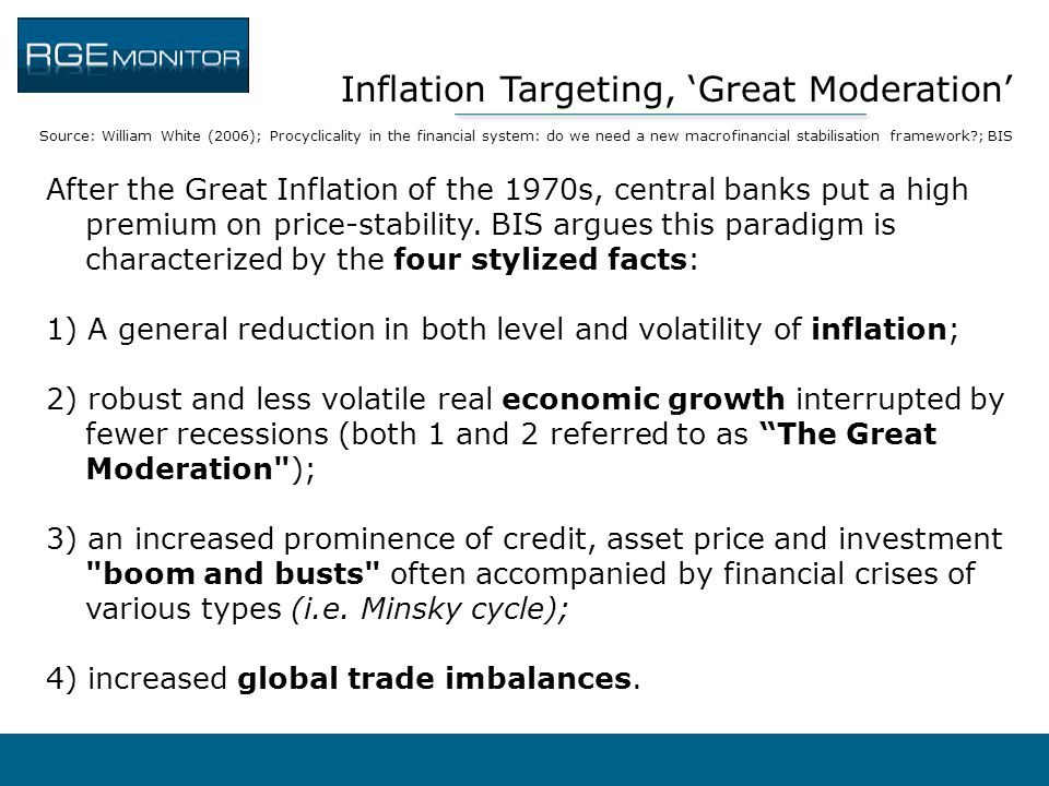 Inflation Targeting, 'Great Moderation' Source: William White (2006); Procyclicality in the financial system: do we need a new macrofinancial stabilis