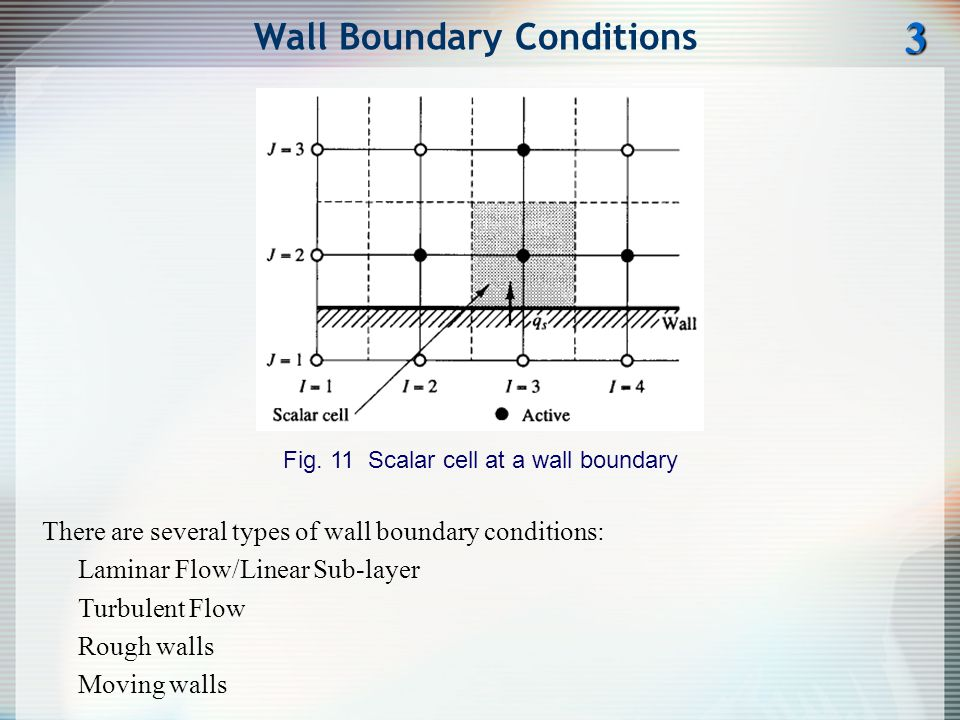 Wall Boundary Conditions Fig. 11 Scalar cell at a wall boundary 3 There are several types of wall boundary conditions: Laminar Flow/Linear Sub-layer T