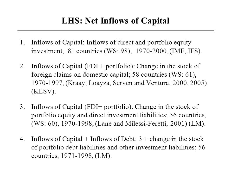 LHS: Net Inflows of Capital 1.Inflows of Capital: Inflows of direct and portfolio equity investment, 81 countries (WS: 98), 1970-2000, (IMF, IFS). 2.I