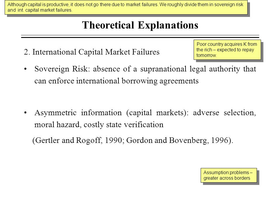 Theoretical Explanations 2. International Capital Market Failures Sovereign Risk: absence of a supranational legal authority that can enforce internat