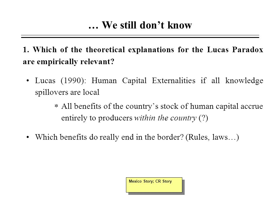 … We still don't know 1. Which of the theoretical explanations for the Lucas Paradox are empirically relevant? Lucas (1990): Human Capital Externaliti