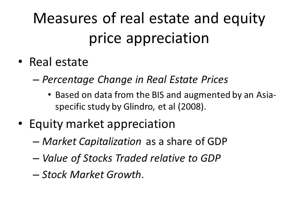 Measures of real estate and equity price appreciation Real estate – Percentage Change in Real Estate Prices Based on data from the BIS and augmented by an Asia- specific study by Glindro, et al (2008).