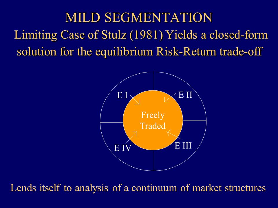 MILD SEGMENTATION Limiting Case of Stulz (1981) Yields a closed-form solution for the equilibrium Risk-Return trade-off Freely Traded E I E IV E II E III Lends itself to analysis of a continuum of market structures