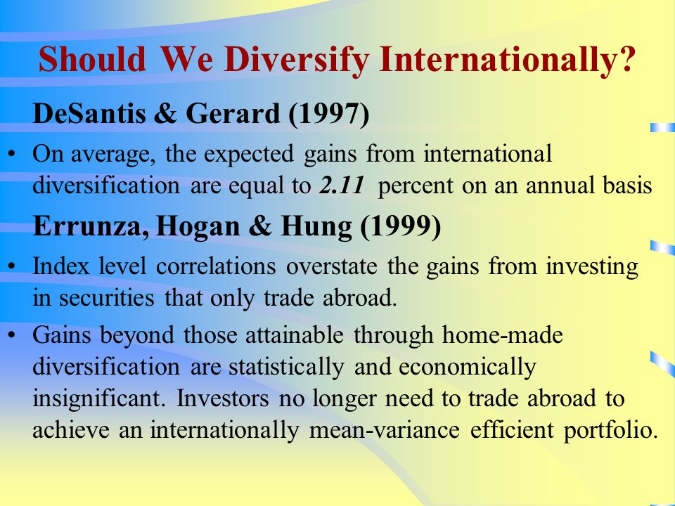 Should We Diversify Internationally.