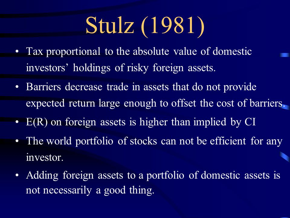 Tax proportional to the absolute value of domestic investors' holdings of risky foreign assets.