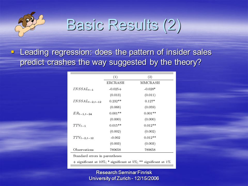 Research Seminar Finrisk University of Zurich - 12/15/2006 Basic Results (2)  Leading regression: does the pattern of insider sales predict crashes the way suggested by the theory?