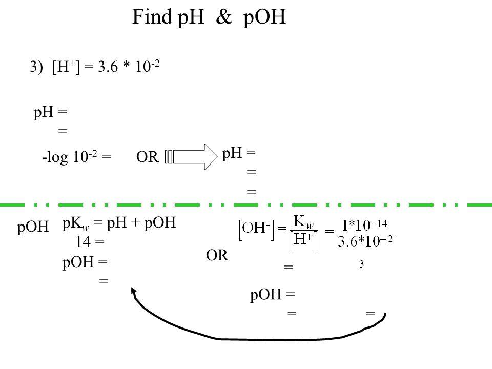 3) [H + ] = 3.6 * 10 -2 pH = -log(3.6*10 -2 ) = 1.44 OR-log 10 -2 = 2 pH = 2 – log (3.6) = 2 – 0.56 = 1.44 Find pH & pOH pOH pK w = pH + pOH 14 = 1.44