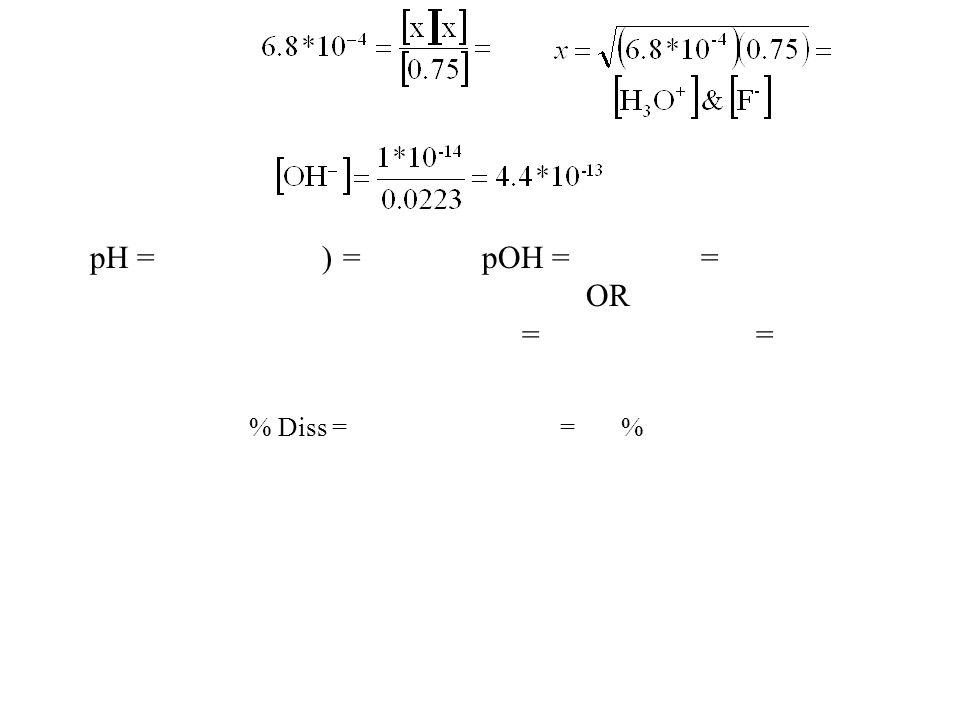 pH = -Log(0.0223) = 1.65pOH = 14 - 1.65 = 12.35 OR = -Log(4.4*10 -13 ) = 12.36 % Diss = 0.0223 / 0.75 * 100 = 3.0 %