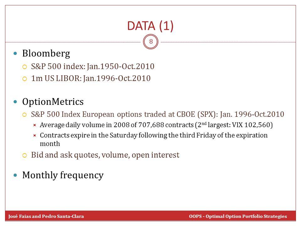 8 Bloomberg  S&P 500 index: Jan.1950-Oct.2010  1m US LIBOR: Jan.1996-Oct.2010 OptionMetrics  S&P 500 Index European options traded at CBOE (SPX): Jan.