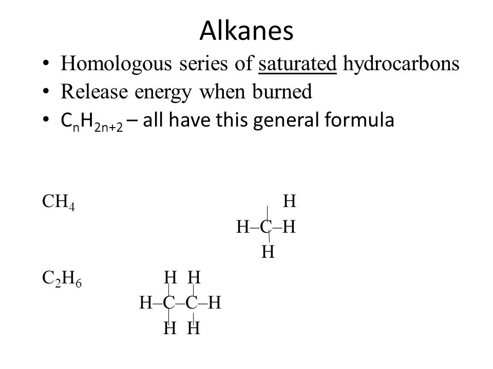 Alkanes Homologous series of saturated hydrocarbons Release energy when burned C n H 2n+2 – all have this general formula CH 4 H H–C–H H C 2 H 6 H H H