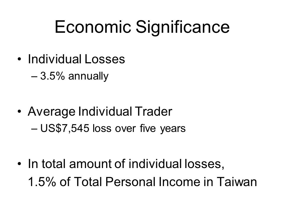 Economic Significance Individual Losses –3.5% annually Average Individual Trader –US$7,545 loss over five years In total amount of individual losses, 1.5% of Total Personal Income in Taiwan