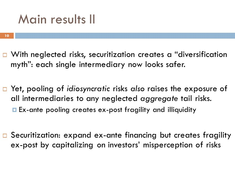 Main results II  With neglected risks, securitization creates a diversification myth : each single intermediary now looks safer.
