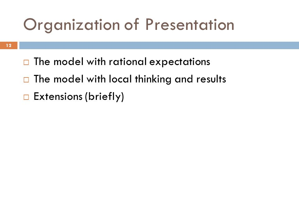 Organization of Presentation 12  The model with rational expectations  The model with local thinking and results  Extensions (briefly)
