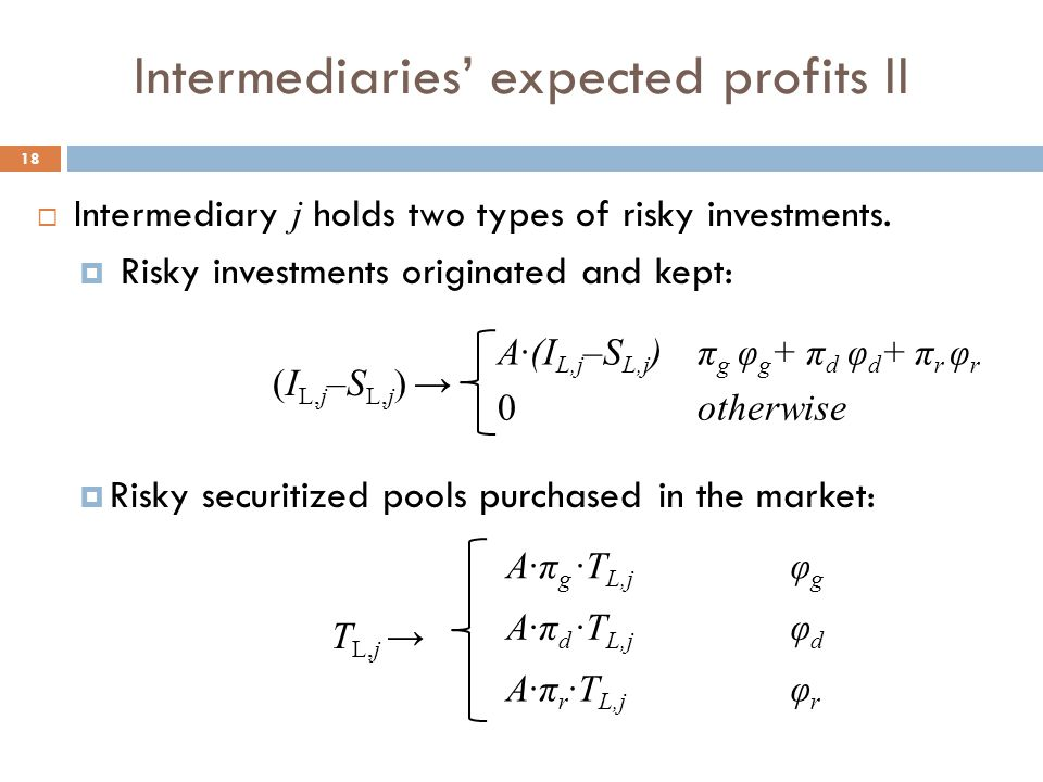 Intermediaries' expected profits II 18  Intermediary j holds two types of risky investments.