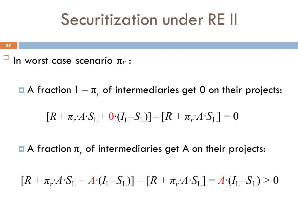 Securitization under RE II 27 In worst case scenario π r :  A fraction 1 – π r of intermediaries get 0 on their projects: [R + π r ∙A∙S L + 0∙(I L –S L )] – [R + π r ∙A∙S L ] = 0  A fraction π r of intermediaries get A on their projects: [R + π r ∙A∙S L + A∙(I L –S L )] – [R + π r ∙A∙S L ] = A∙(I L –S L ) > 0