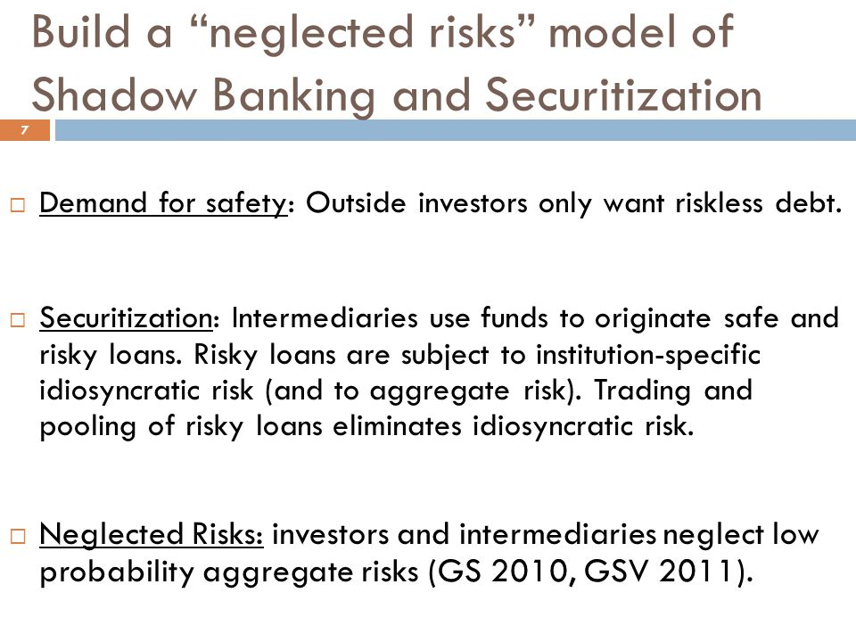 Intermediaries' expected profits II 18  Intermediary j holds two types of risky investments.