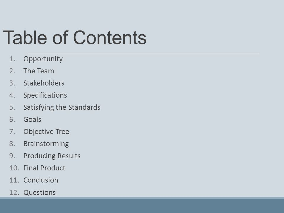 Table of Contents 1.Opportunity 2.The Team 3.Stakeholders 4.Specifications 5.Satisfying the Standards 6.Goals 7.Objective Tree 8.Brainstorming 9.Produ