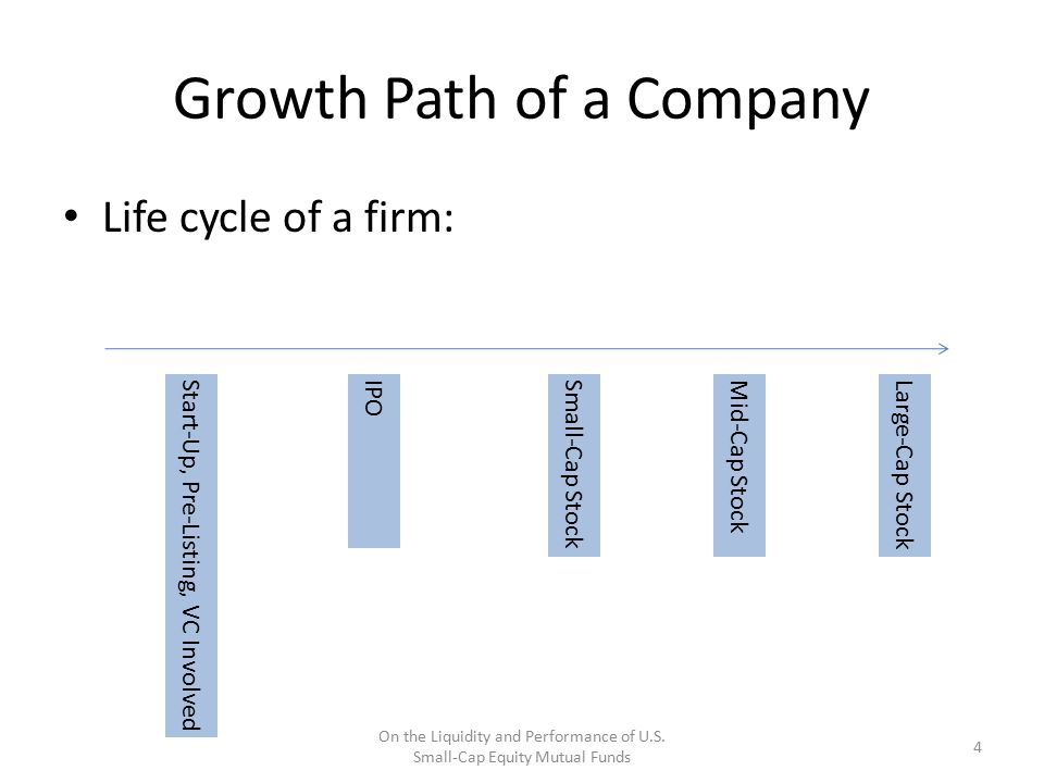 Growth Path of a Company Life cycle of a firm: Start-Up, Pre-Listing, VC InvolvedIPO 4 On the Liquidity and Performance of U.S. Small-Cap Equity Mutua