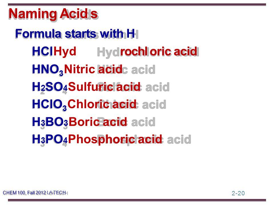 Naming Acids Formula starts with H HCl Hydrochloric acid HNO 3 Nitric acid H 2 SO 4 Sulfuric acid HClO 3 Chloric acid 2-20 H 3 BO 3 Boric acid H 3 PO 4 Phosphoric acid CHEM 100, Fall 2012 LA TECH