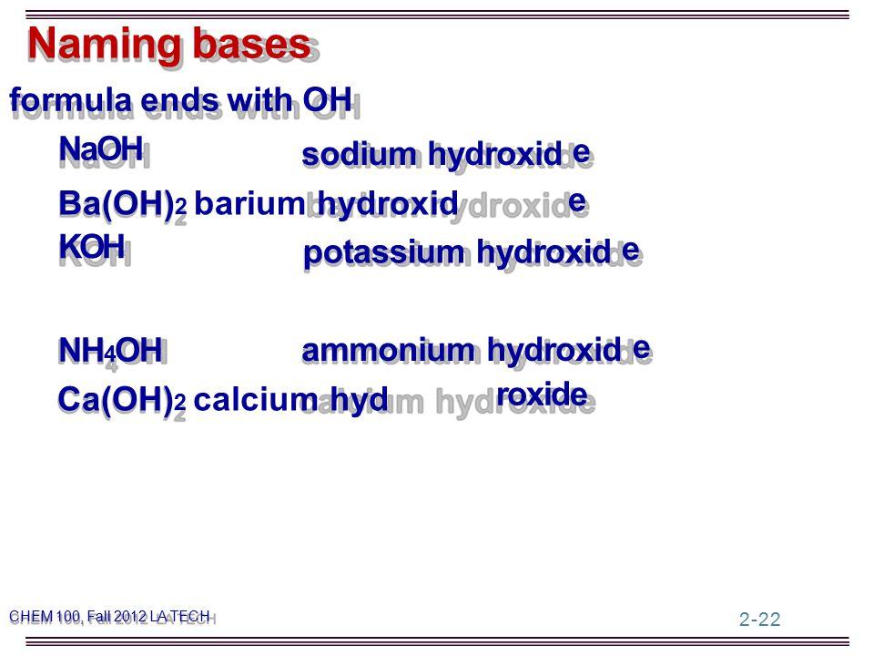 formula ends with OH Naming bases NaOH Ba(OH) 2 barium hydroxid KOH sodium hydroxid potassium hydroxid e e e 2-22 Ca(OH) 2 calcium hyd NH 4 OH roxide ammonium hydroxid e CHEM 100, Fall 2012 LA TECH