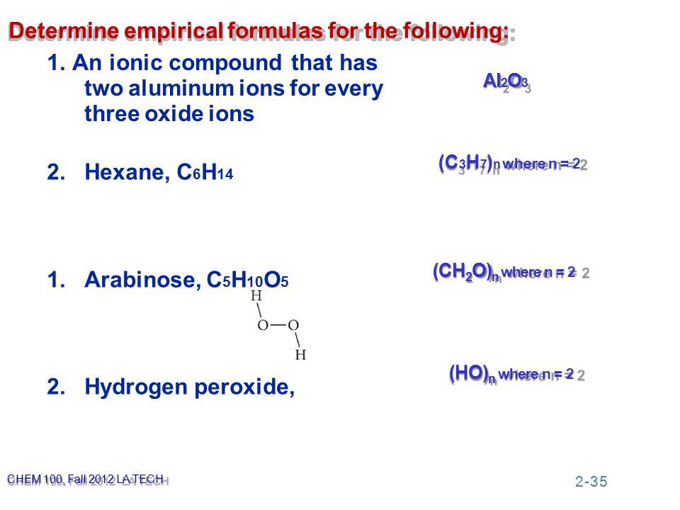 Determine empirical formulas for the following: 1.