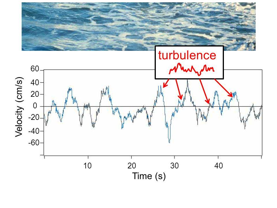 10 20 30 40 Time (s) Velocity (cm/s) 60 40 20 0 -60 -40 -20 turbulence