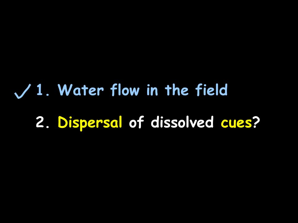 1. Water flow in the field 2. Dispersal of dissolved cues