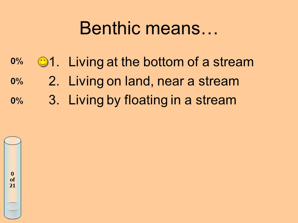 Benthic means… 1.Living at the bottom of a stream 2.Living on land, near a stream 3.Living by floating in a stream 0 of 21