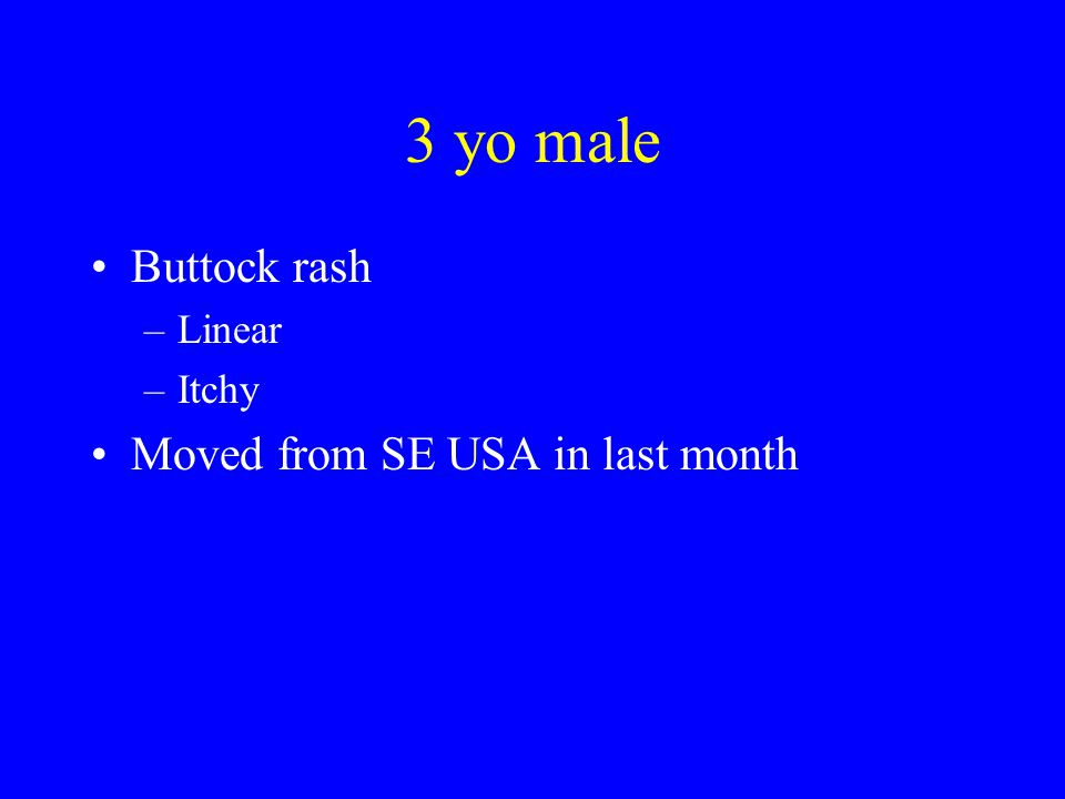 3 yo male Buttock rash –Linear –Itchy Moved from SE USA in last month
