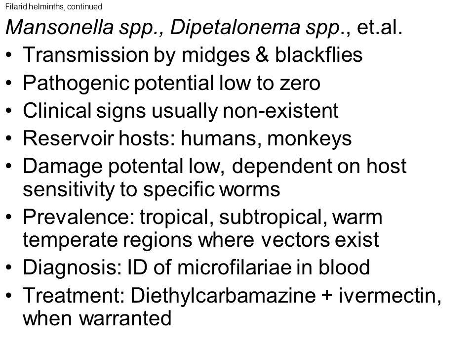 Filarid helminths, continued Mansonella spp., Dipetalonema spp., et.al. Transmission by midges & blackflies Pathogenic potential low to zero Clinical