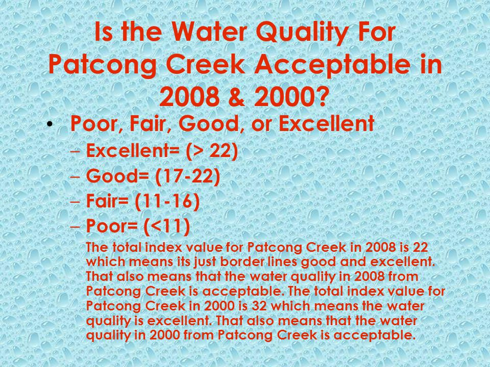 Is the Water Quality For Patcong Creek Acceptable in 2008 & 2000.