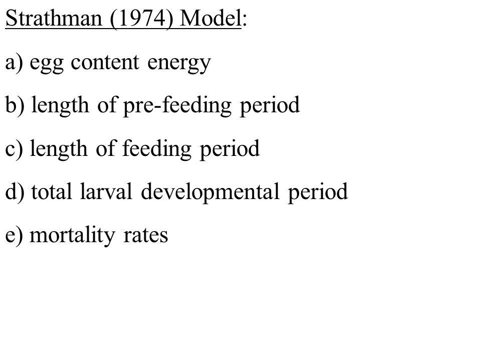 Strathman (1974) Model: a) egg content energy b) length of pre-feeding period c) length of feeding period d) total larval developmental period e) mortality rates