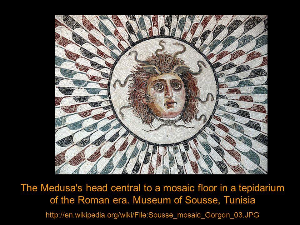 The Medusa s head central to a mosaic floor in a tepidarium of the Roman era.