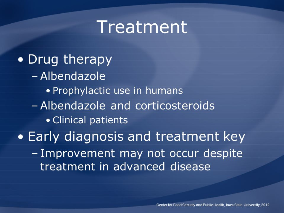 Treatment Drug therapy –Albendazole Prophylactic use in humans –Albendazole and corticosteroids Clinical patients Early diagnosis and treatment key –I