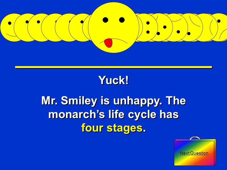 Question 1: How many stages does the monarch's life cycle have *Four* *Five*